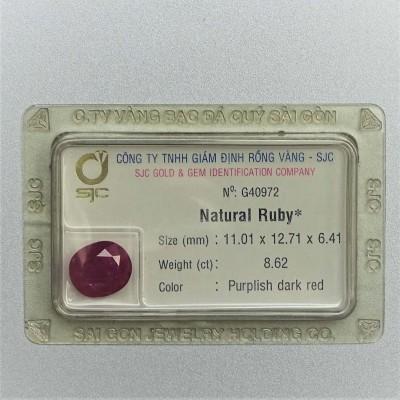 Ruby cut 8,62ct certificate, Vietnam
