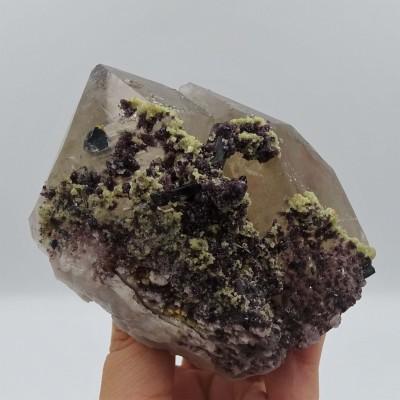 Smoky quartz with tourmaline blue 525 grams, Brazil