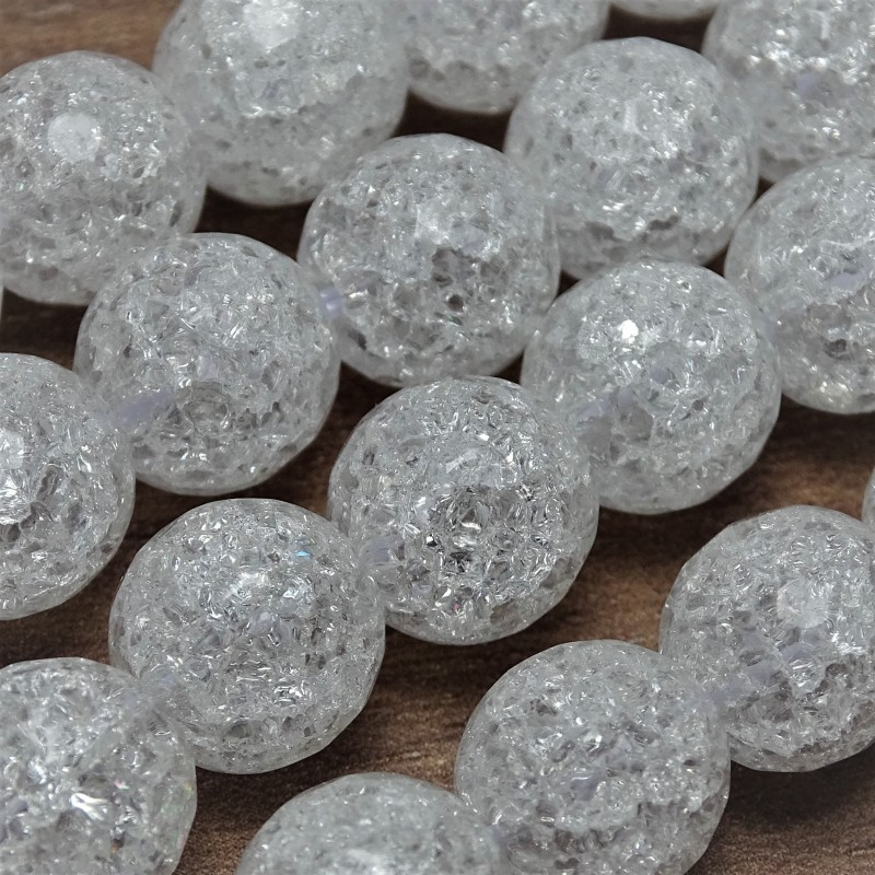 Natural cracked crystal beads - Ø 8 mm