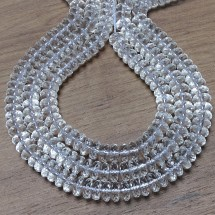 Natural quartz crystal faceted beads -disc - 4x10 mm