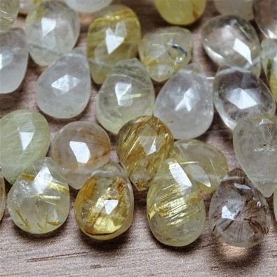 Mineral beads - SAGENITE - faceted drop  11x7 mm