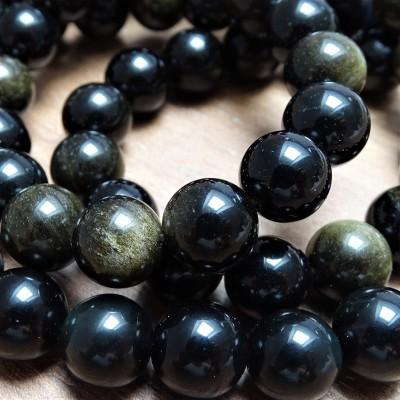 Mineral beads - GOLDEN OBSIDIAN - Ø 12 mm
