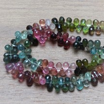 Mineral beads - natural faceted TOURMALINE - drops - size 6x3 mm
