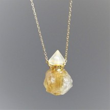 Crystal aroma diffuser (necklace) made of raw citrine crystal