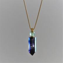 Crystal aroma difuser - necklace, parfum bottle, original jewelry. Made of rainbow fluorite