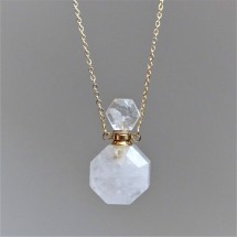 Crystal aroma diffuser (necklace) - made of cut quartz crystal. Parfum bottle - original jewelry