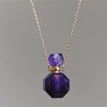 Crystal aroma diffuser (necklace) - made of cut amethyst. Parfum bottle, orgininal jewelry