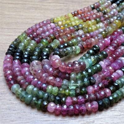Korálky - TURMALÍN (mix barev), fazetované čočky vel. 6 x 4 mm, výhodné balení