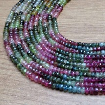 Mineral beads - TOURMALINE (mix of colors), faceted lenses 5 x 3,5 mm