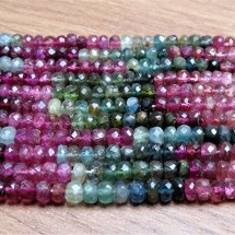Mineral beads - TOURMALINE (mix of colors), faceted lenses 4 x 2,5 mm